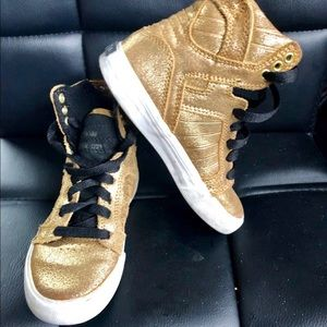 Supra Girls Gold High Top Fashion Sneakers Sz 11